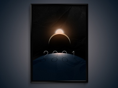 2001: A Space Odyssey's Poster 2001 movie poster space scifi fiction planet sun light dark stars