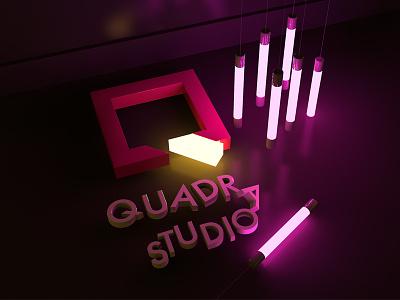 3D Wallpaper - Quadra Studio 3d render cinema4d light illumination glow extrude bulbs logo