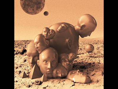 Heads on Mars sculpting cgi space octane vray 3d heads render cinema4d c4d