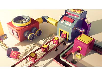 Lab of Ideas - CGI city colors box factory plastic render toys 4d cinema cgi