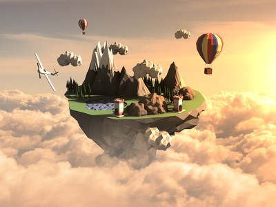 Hidden Landscape - Low poly plane cgi clouds sky balloon landscape lowpoly render c4d cinema4d
