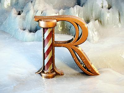 3D Typography - Christmas frozen xmas gold snow maxon typography render cgi cinema 4d christmas