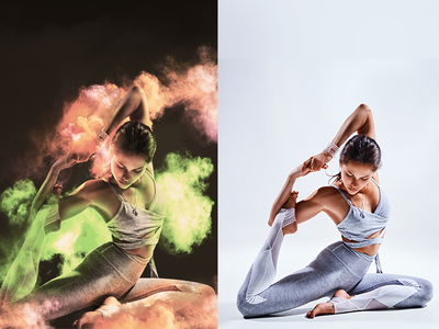 Advertising - YOGA photoshop digital painting image retouching poster print workout gym yoga design light colors