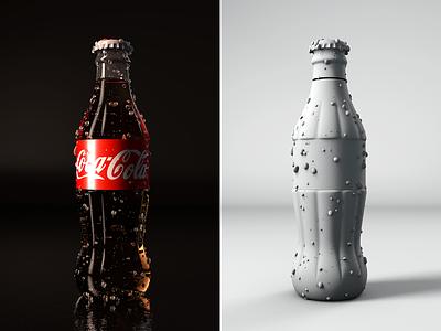 3D Coke Bottle Render coke coca-cola colors light cgi 3d c4d cinema4d render