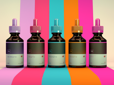 3D/CGI Honeopathic Doses of Creativity ui design adobe xd after effects illustrator indesign photoshop colors medicine glass cgi c4d render adobe cinema 4d