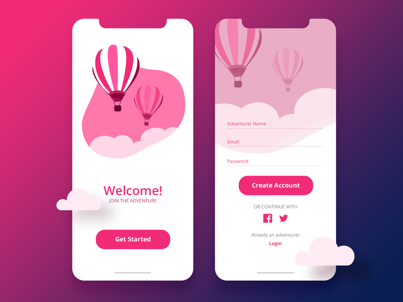 Join the adventure! dribbbleshot registration page dribbble color design vector ui landingscreen account uidesign illustration mobile app mobile ui login welcome screen sign up