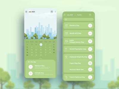 Calendar App Design android calendar app vector illustration app uiux creative design illustration color mobile app concept uidesign design dribbble adobe ilustrator adobe xd