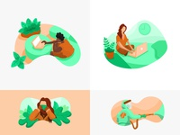 Healthy   Productive ui illustration art illustrations illustration illustrator 2d art orange green blue coronavirus covid covid19 covid 19 covid-19 corona mask work from home workfromhome work