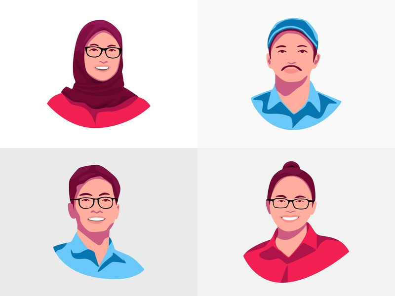 Face Illustration Avatar blue red girls boys muslimah vexel art vexelart vexel avatar design avatar icons avatardesign avatars avatar illustration minimalism minimalist
