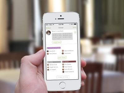 Event screen in scheduler app