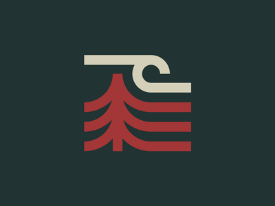Sea Forest algae forest wave sea logo mark ocean seaweed