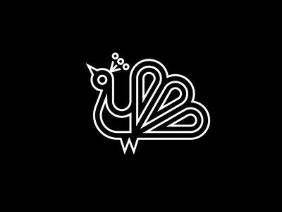 Peacock No. 2 fowl peacock logo animal lines logo bird peacock