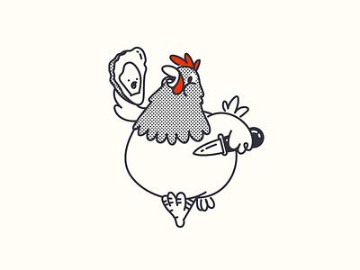 Chicken & Oysters shucker oyster hen chicken