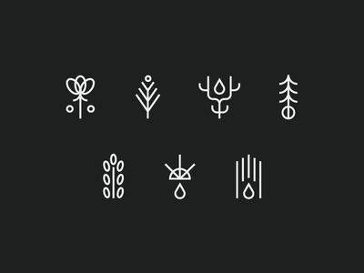 Icons no thanks oils marks candles scents trees plants flowers herbal icons