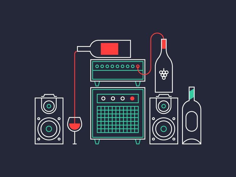 Wine music bottles amplifiers speakers wine