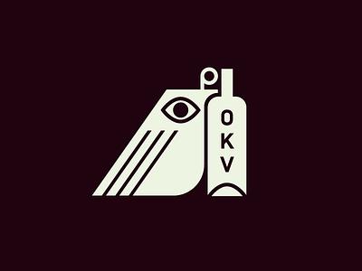 OKV bird logo icon mark drinks bottle wine quail birds logo