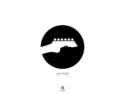 هادی پاکزاد (Tribute to Hadi Pakzad) fingers flower negativespace hand tribute rock iranian lyricist profile face rip resting rest grave flowers guitar bw silhouette musician singer