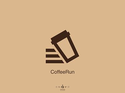 CoffeeRun Logo minimalist minimalism minimal run foodorder coffeeshop cafe coffeeaddict food coffeerun coffee logoinspiration logoinspire logodesigner logodesign brand logo