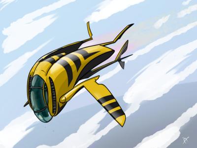 Yellow Jacket Racer vehicle design yellow jacket hornet jet spaceship sci fi clip studio paint inkandbees concept art illustration digital art