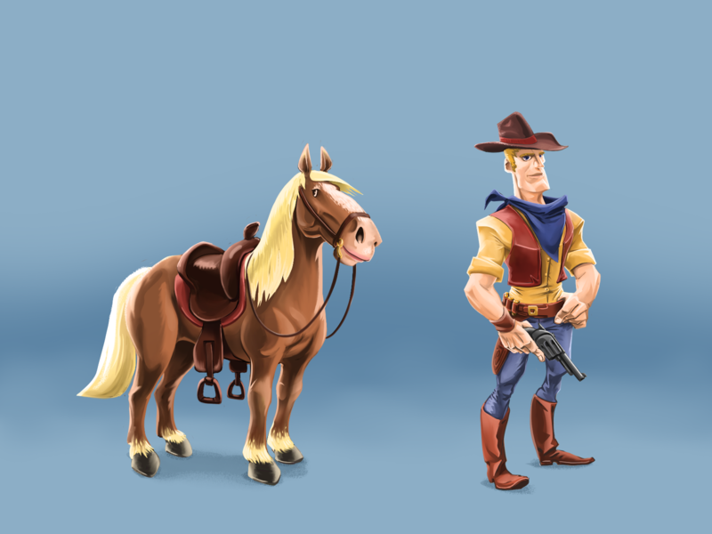 Horse and Rider casual game character mobile game design cowboy horse character design digital art design clip studio paint inkandbees concept art illustration mobile game ui