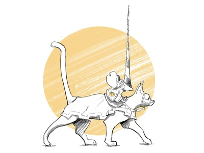 Mouse Knight and the Horse halftone tiny armour tshirt kitten cat warrior lance knights mouse inktober2019
