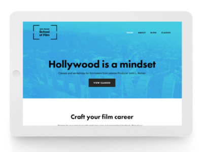 Homepage for JR School of Film blue landing page homepage film
