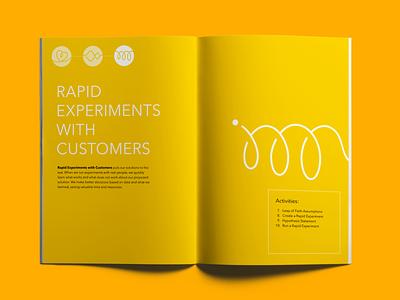 Innovation course workbook interior view publication design illustration academy print design