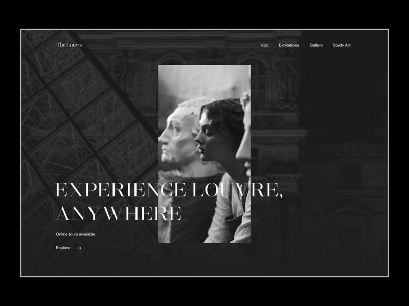 Louvre Website Redesign Concept sculpture designer desktop website design web design uxui promo ui design website webdesign ux uiux ui france design art louvre