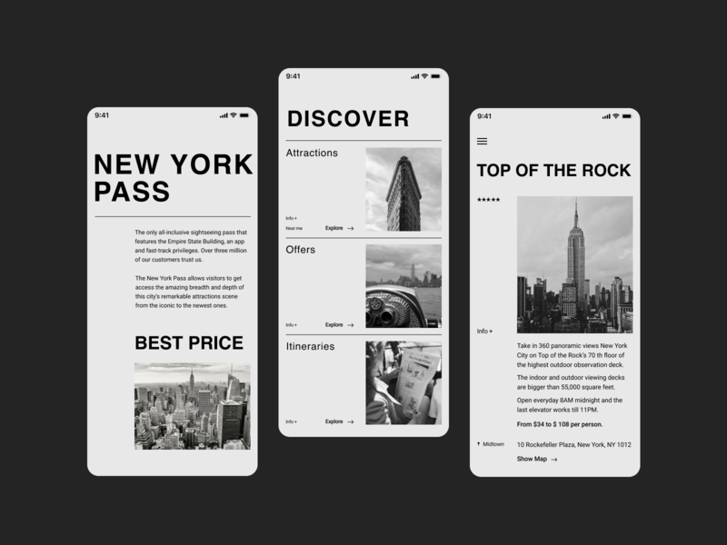 New York Pass Redesign Concept modern cleanui clean black  white design mobile uxui elegant webdesign ui design ux ui uidesign uiux redesign newyork