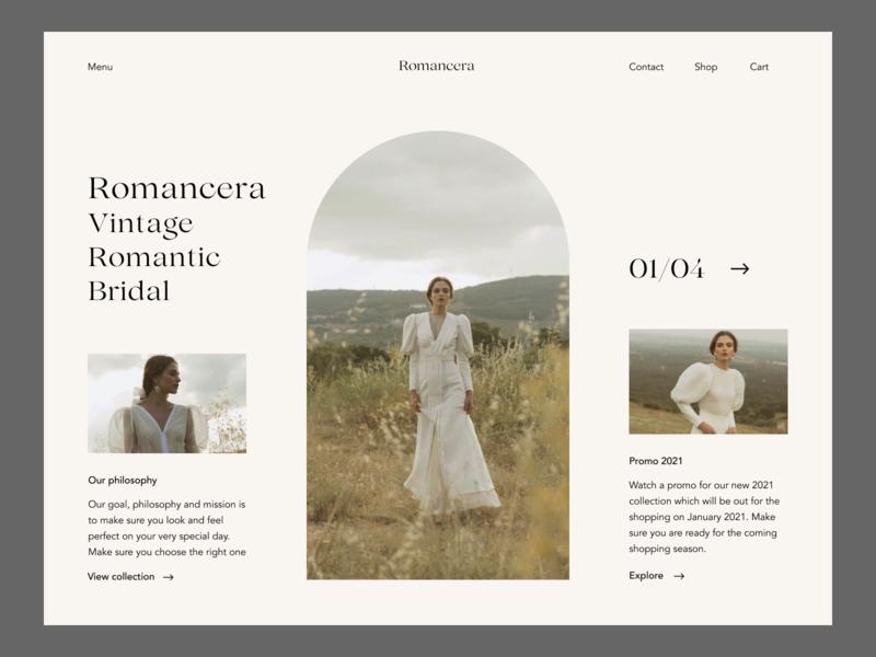 Romancera Vintage Bridal Fashion Website Redesign brand design ux uxui promo ui design elegant webdesign grid clean modern fashion uiux ui bridal romantic