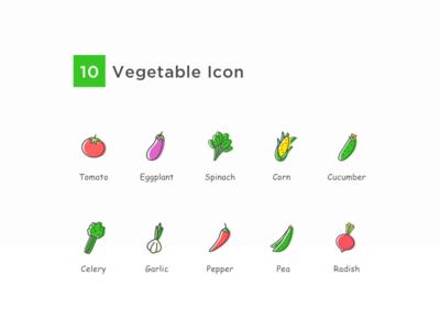 蔬菜图标 radish pea pepper garlic celery cucumber corn spinach eggplant tomato icon vegetable