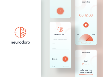 Neurodoro wearable tech mobile app mobile ui adobe illustrator figma