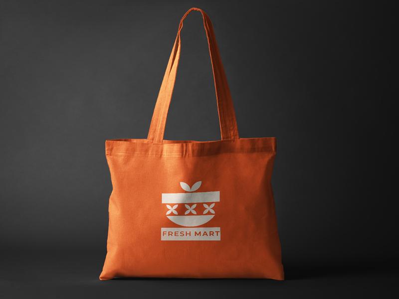 Fresh Mart Re- Branding branding shopping bag illustration minimmal