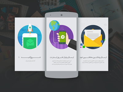 Intro app messenger android illustrations intro ui interface messenger mobile app flat material landing design
