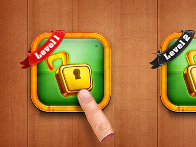 Danger Road / Level Select danger road level select ui game ios android lock unlock hand wood ribbon