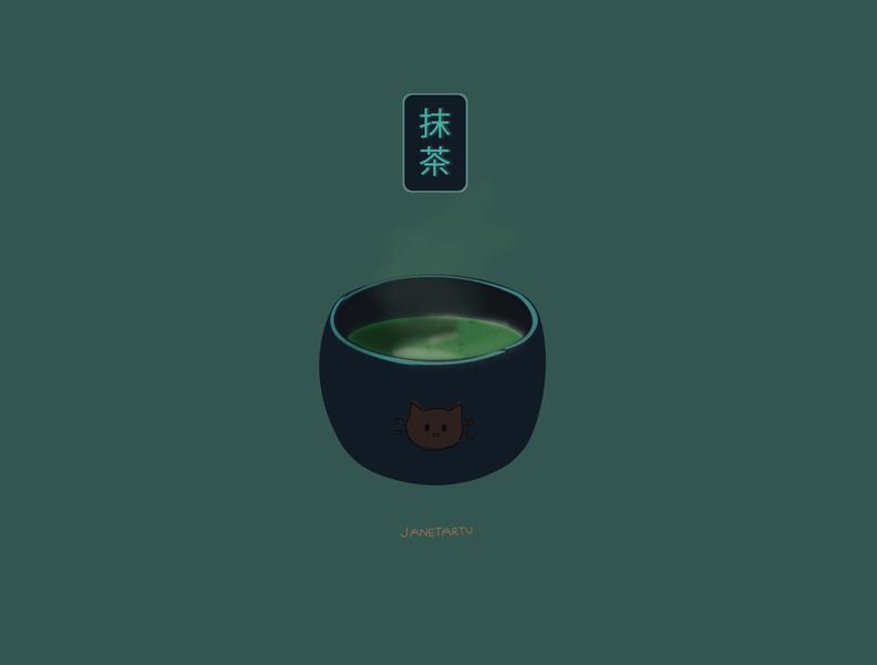 Matcha 抹茶 matcha cat illustration