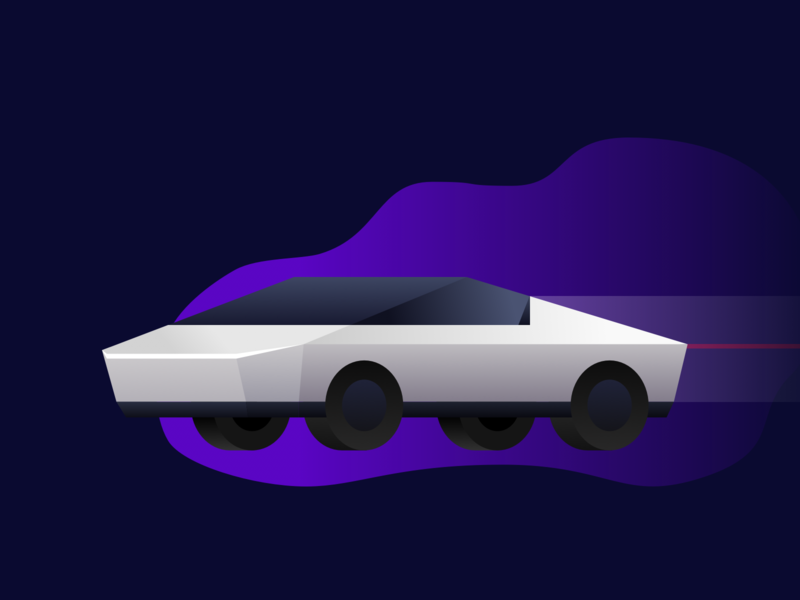 Tesla Cyber Truck cyberpunk truck neon night cyber truck tesla illustrator vehicle car design gradient vector illustration