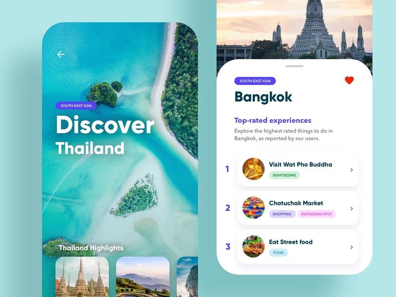 Travel App - Discover and Explore UI Design Concept thailand design concept ux design ui design ux graphic design mobile ui mobile exotic app design app white ui trip travel app simple travel clean
