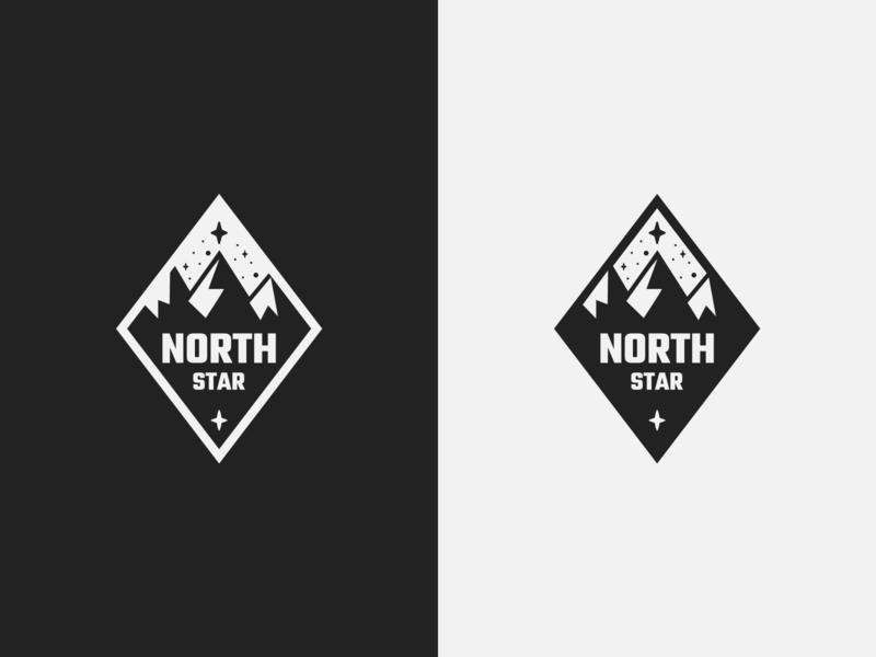 North Star Badge logo stars badge mark emblem mountains star north branding design simple outline vector illustration