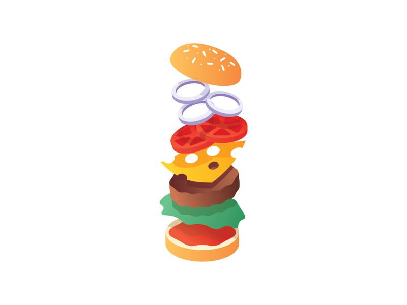 Hamburger simple falling fast food floating shadows gradient vector illustration cheese food hamburger burger