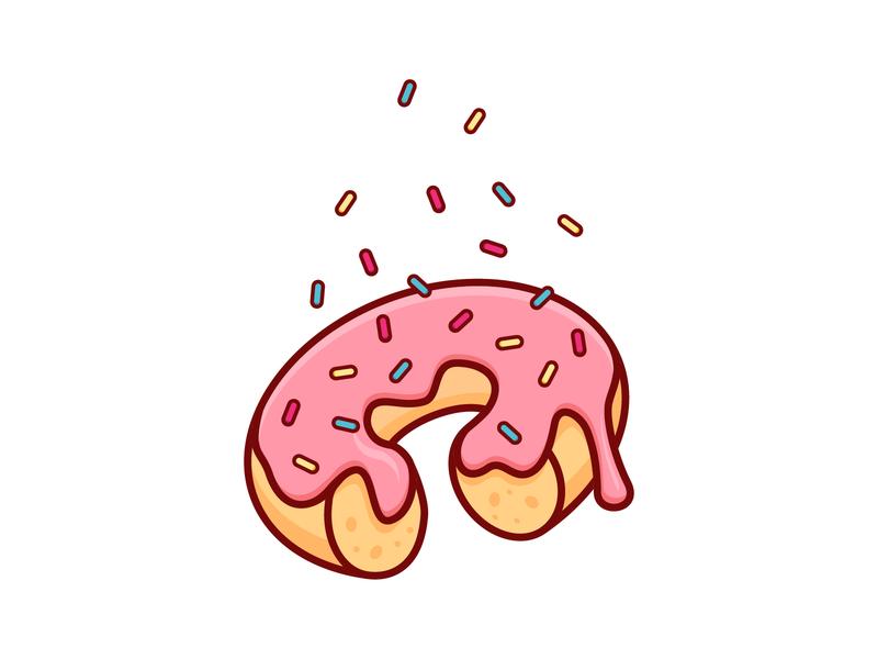 Donut doughnut frosting glazed sprinkles donut vector food simple outline illustration