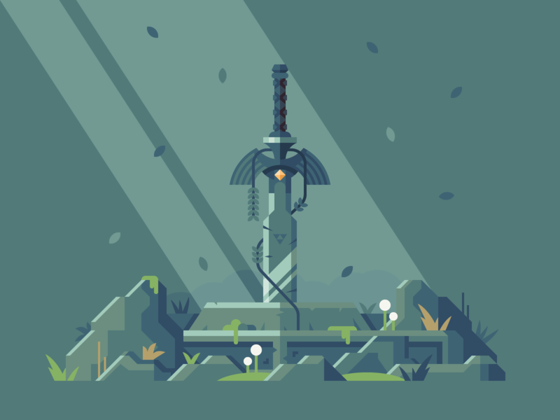 Relic - The Master Sword - The Legend of Zelda nature botw nintendo link sword master sword legend of zelda breath of the wild zelda vector illustration