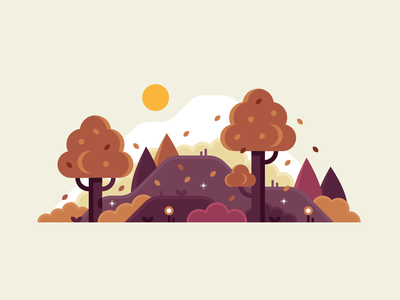 Fall 🍂 tree september october autumn fall leaves leaf nature landscape illustration flat woods vector