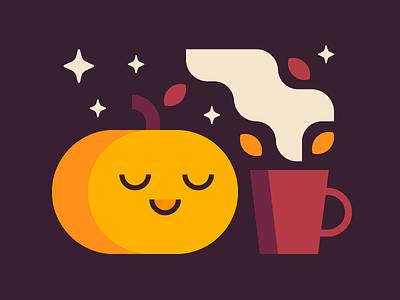 Happy Halloween 🎃 calm latte coffee autumn fall psl pumpkin spice pumpkin halloween october icon vector flat illustration