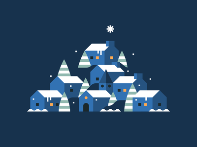 Happy Holidays! town city holidays xmas christmas landscape abstract flat illustration