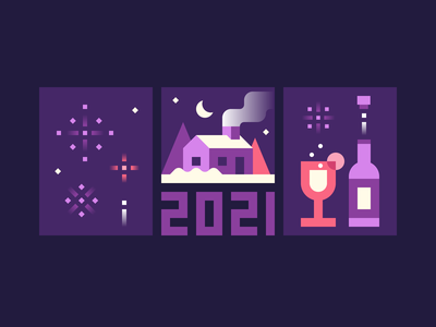 Happy New Year! drinks happy new years eve 2021 2020 new years fireworks house new year december vector flat illustration