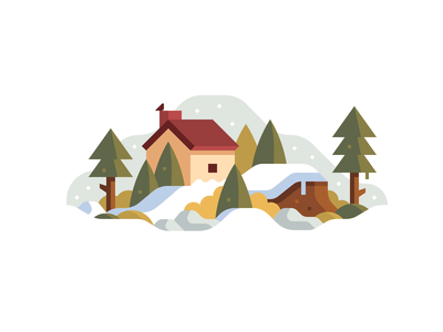 January january winter forest house landscape cabin snow simple flat illustration