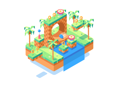 Isometric Sonic retro sega sonic the hedgehog top down island colorful illustration video game isometric sonic