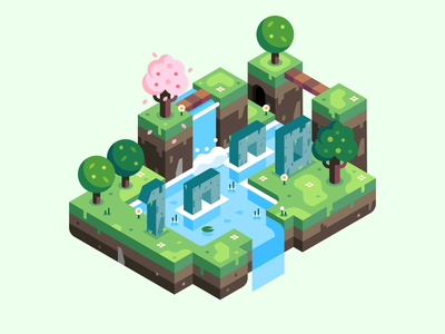 Isometric 1K isometric trees 1000 vector illustration spring landscape island followers 1k