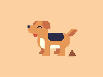 Buddy animal pet poop rough dog flat vector illustration